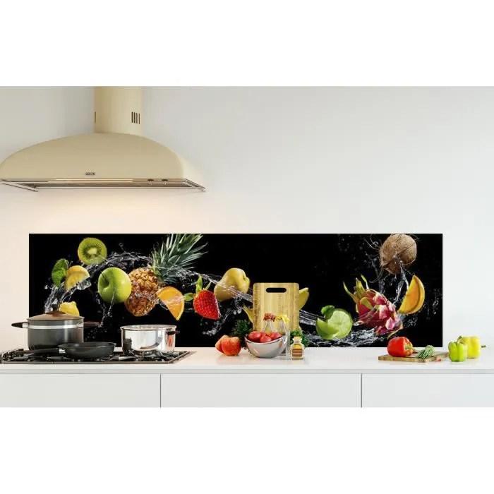 credence de cuisine adhesive en verre de synthese fruits avec eclaboussures d eau l 180 x h 50 cm