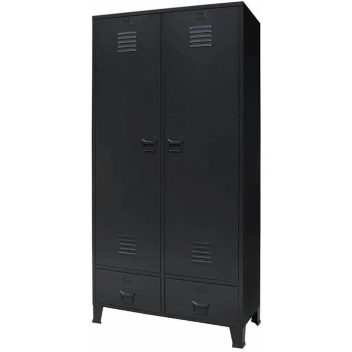 garde robe armoire de chambre armoire penderie metal de style industriel 90 x 40 x 180 cm noir