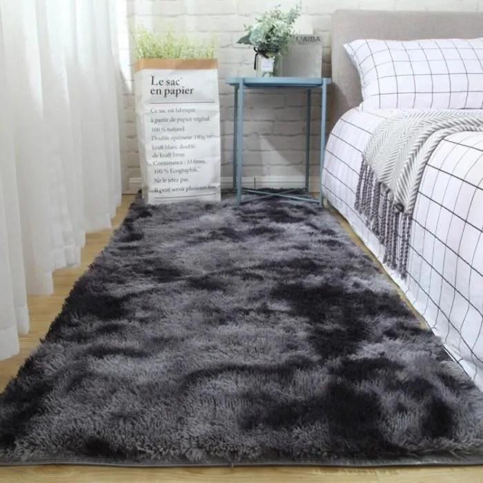 tapis de salon chambre doux shaggy noir