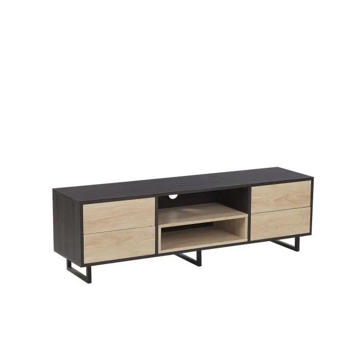beliani meuble tv bois fonce et clair