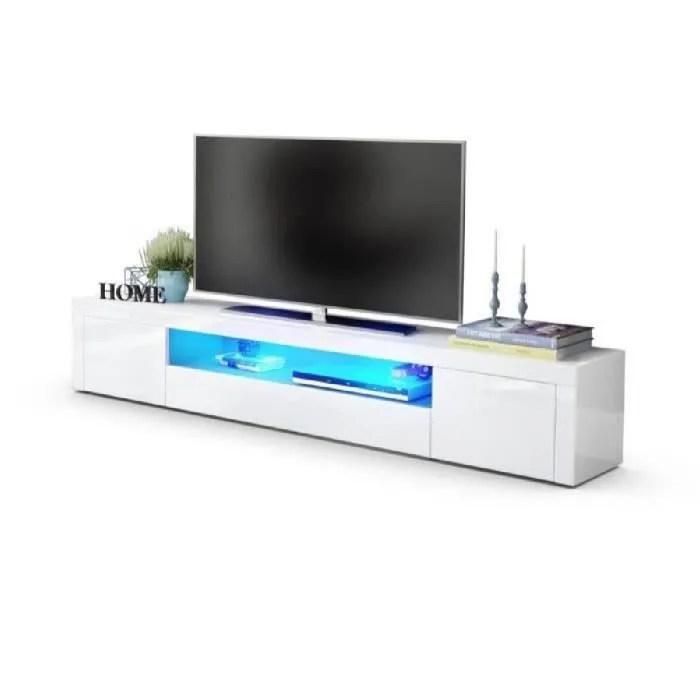 Meuble Tv Moderne Laque Blanc 200 Cm Avec Led Achat Vente Meuble Tv Meuble Tv Moderne Laque Blanc Soldes Sur Cdiscount Des Le 20 Janvier Cdiscount