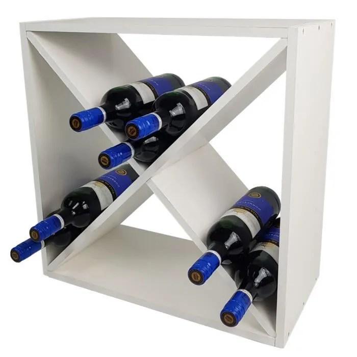 casier a vin bacchus en forme de x etagere a bouteilles de 52 x 52 x 25 cm pour 24 bouteilles en bois de pin blanc
