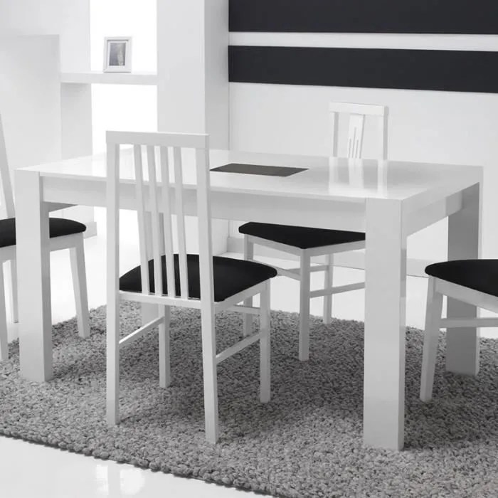 table extensible blanc laque design