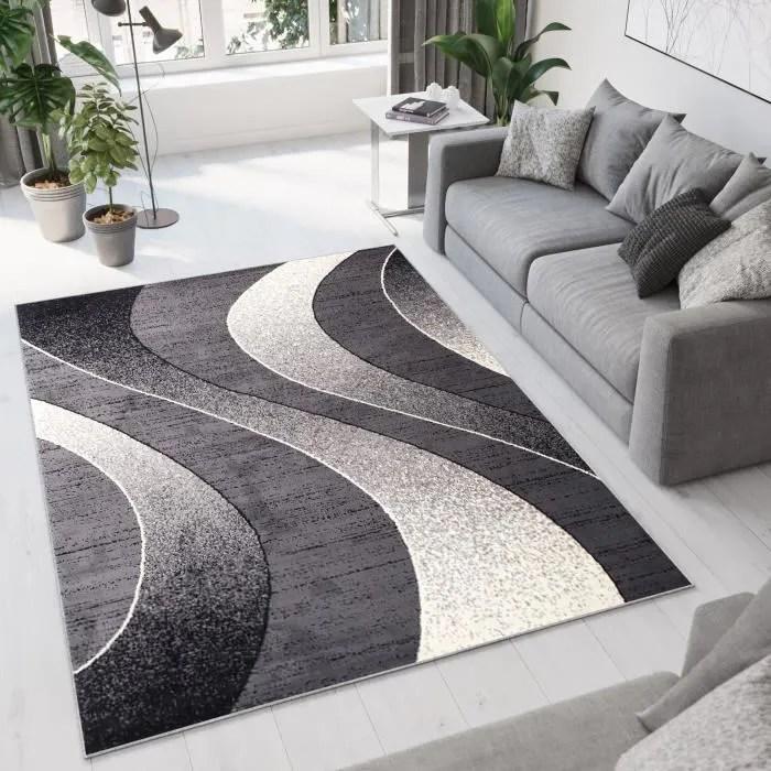 tapiso dream tapis de salon design modernenoir gris creme vagues fin 200 x 300 cm