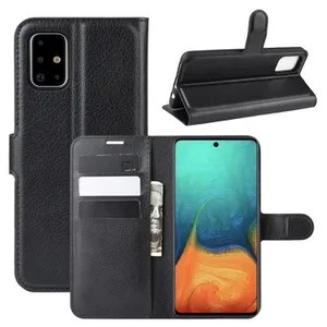 COVER - CASE Case Cover Samsung Galaxy A71 Black in PU Leather with
