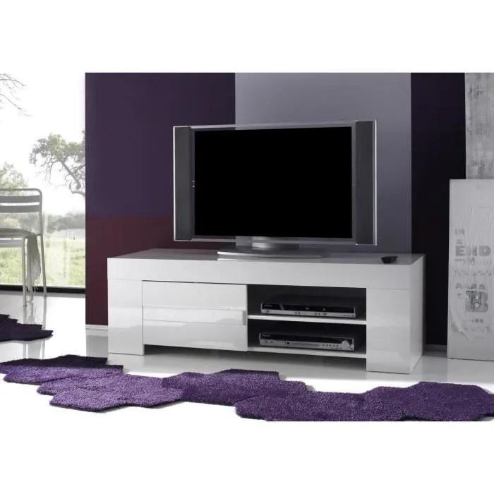 meuble tv hifi blanc laque design eleonore l 140 c
