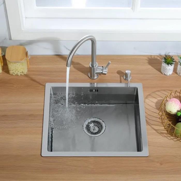 auralum evier de cuisine 1 bac 50x43cm evier sous plan en acier inoxydable 304 pour cuisine avec systeme de drainage
