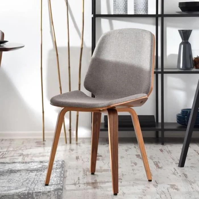 chaise design chaise salle a manger vince 48 cm beige noyer pietement en bois massif style moderne