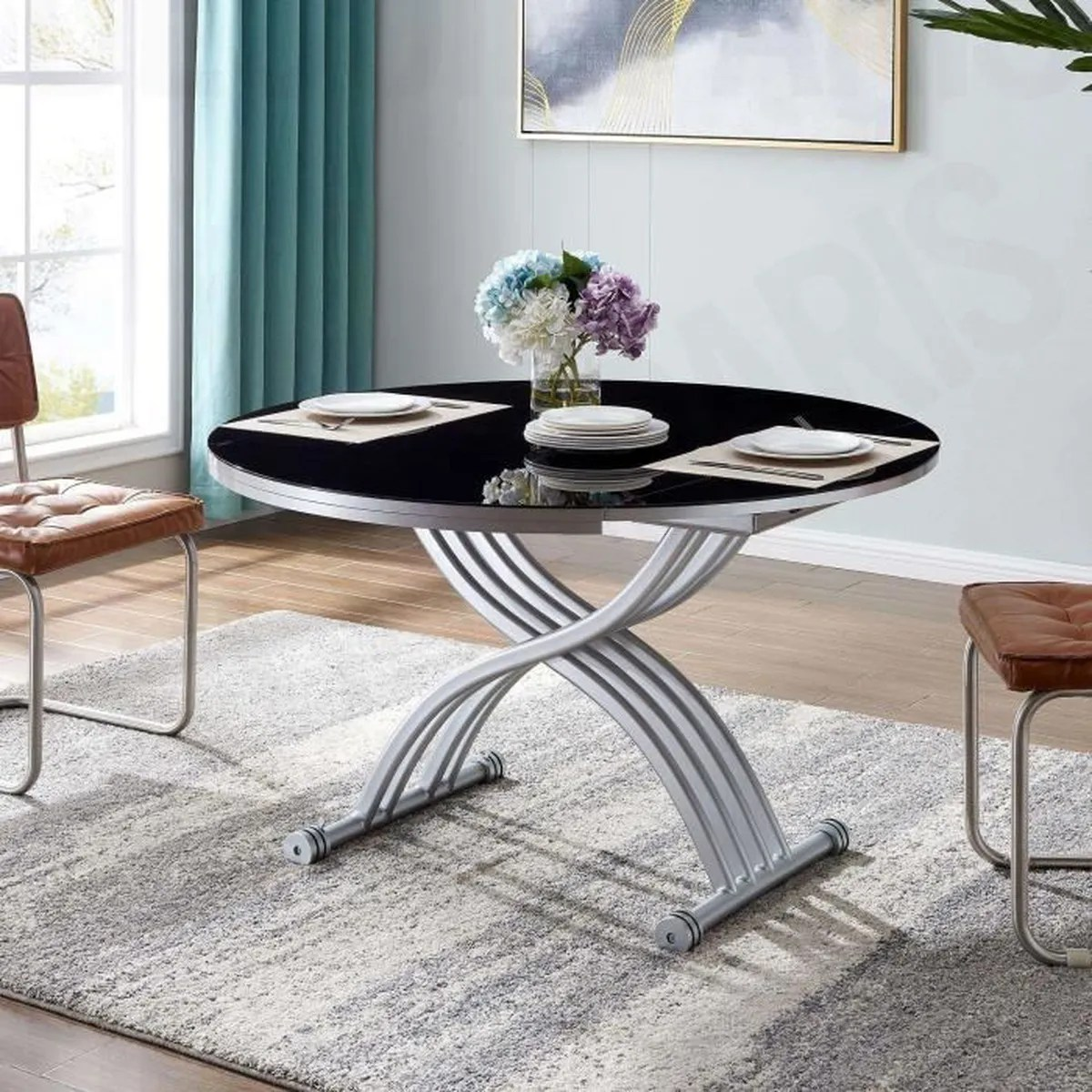 table ronde relevable extensible