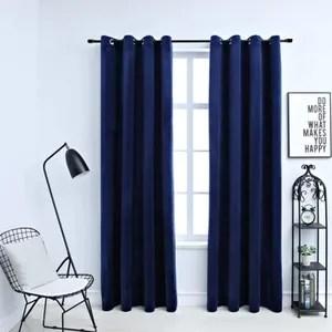 double rideaux velour bleu