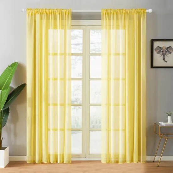 lot de 2 rideaux voilages noel passe tringle 140x260cm jaune moutarde en effet lin decor salon chambre topfinel