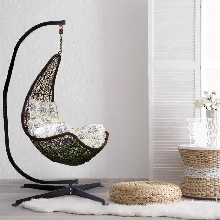 support de hamac ou pour fauteuil suspendu charge max 150 kg hauteur 210 cm en acier coloris noir