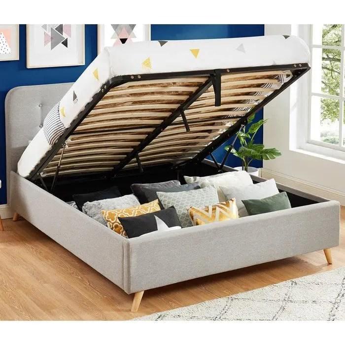 lit coffre 160x200 gris clair avec tete de lit et sommier a lattes relevable collection leo