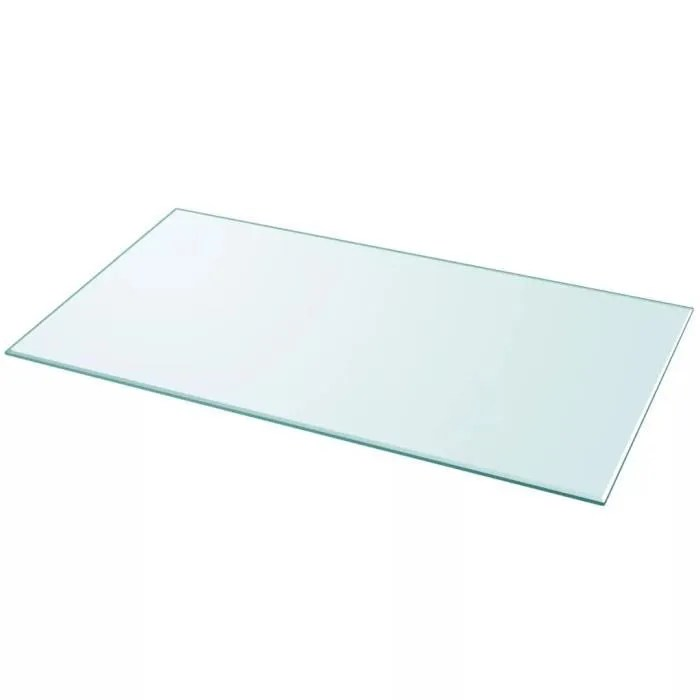 plateau de table dessus de table rectangulaire en verre trempe 1200 x 650 mm