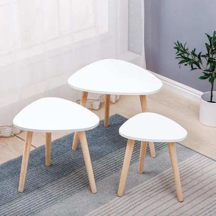 lot de 3 table basse pieds en bois table salle a manger blanc