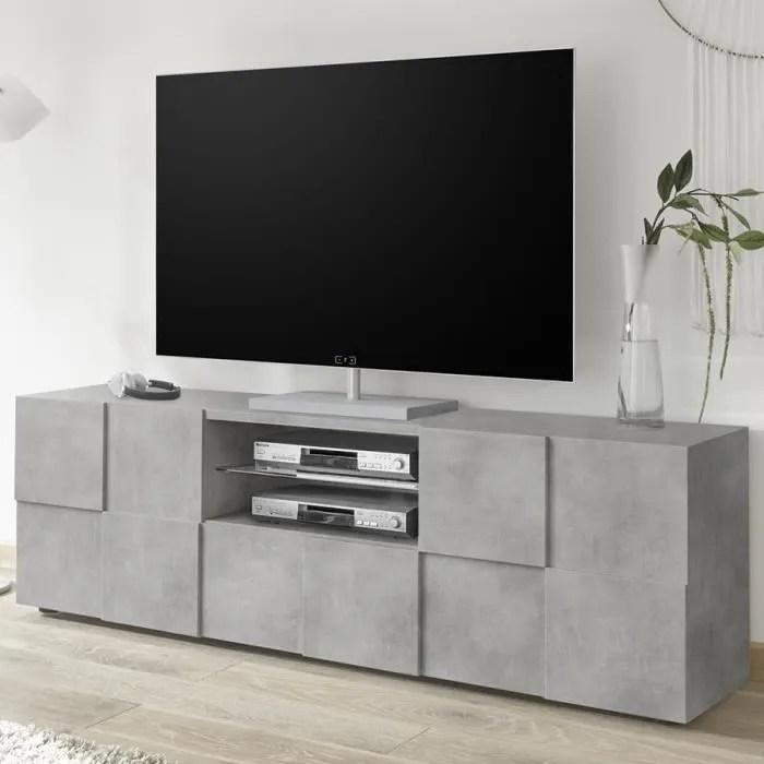 meuble tv 180 cm design gris effet beton dominos 4