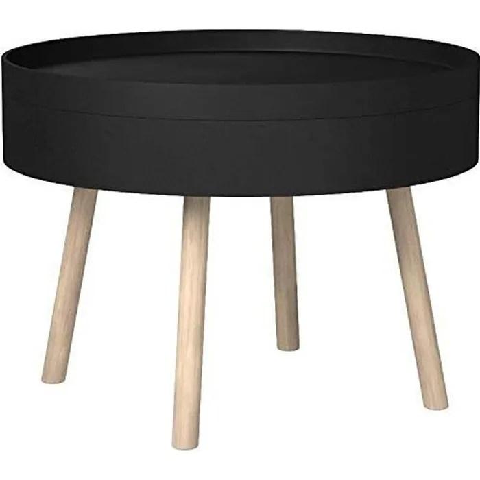 table basse ronde noire avec rangement