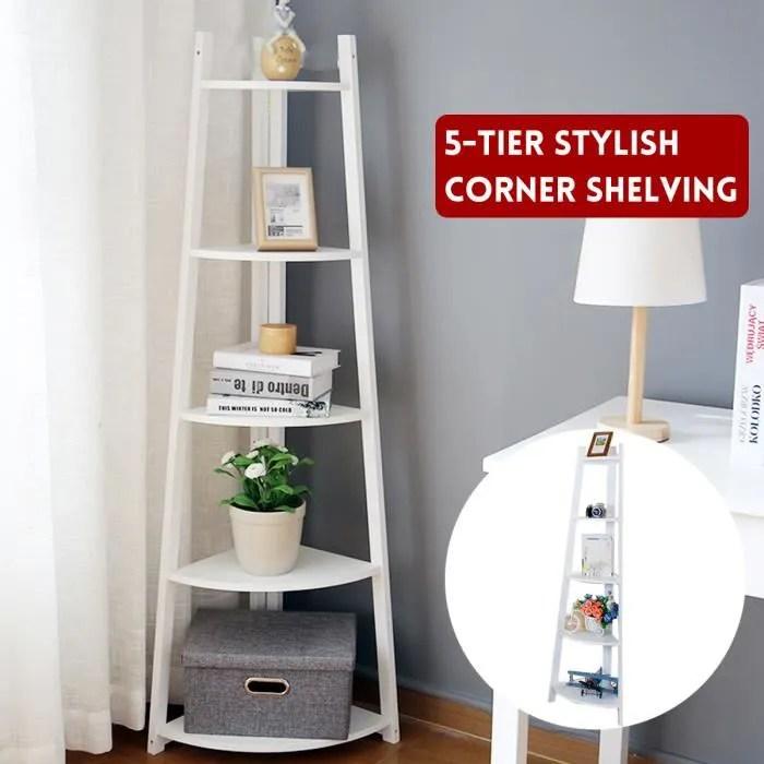 5 niveaux bibliotheque etagere d angle stockage support meuble de rangement pour maison salon chambre blanc