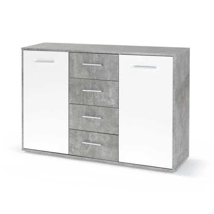 pilvi buffet bas 2 portes 4 tiroirs blanc et beton gris clair l 122 6 x p 34 2 h 88 1 cm