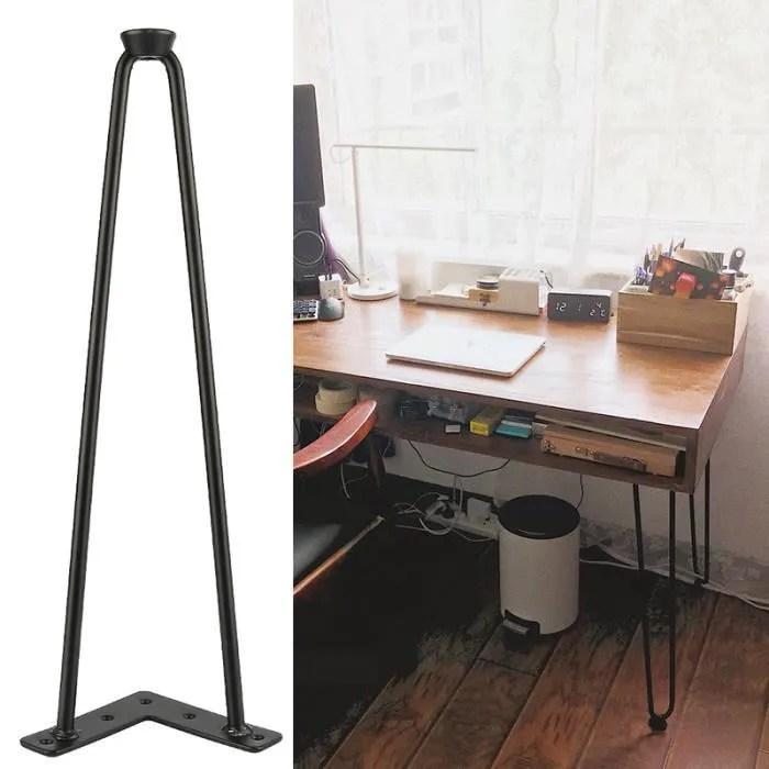 4 pcs 41cm pieds de table noir fer accessoires pour meubles avec 2 poteaux pieds de table en metal support de meuble