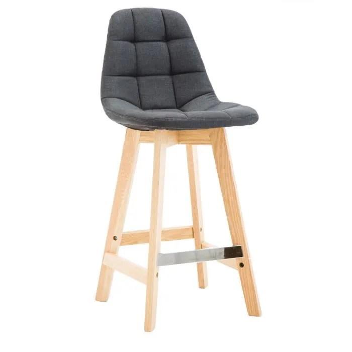 bobochic chaise marius 2 lot de 4 chaises anthracite dossier capitonne assise en tissu pieds en bois