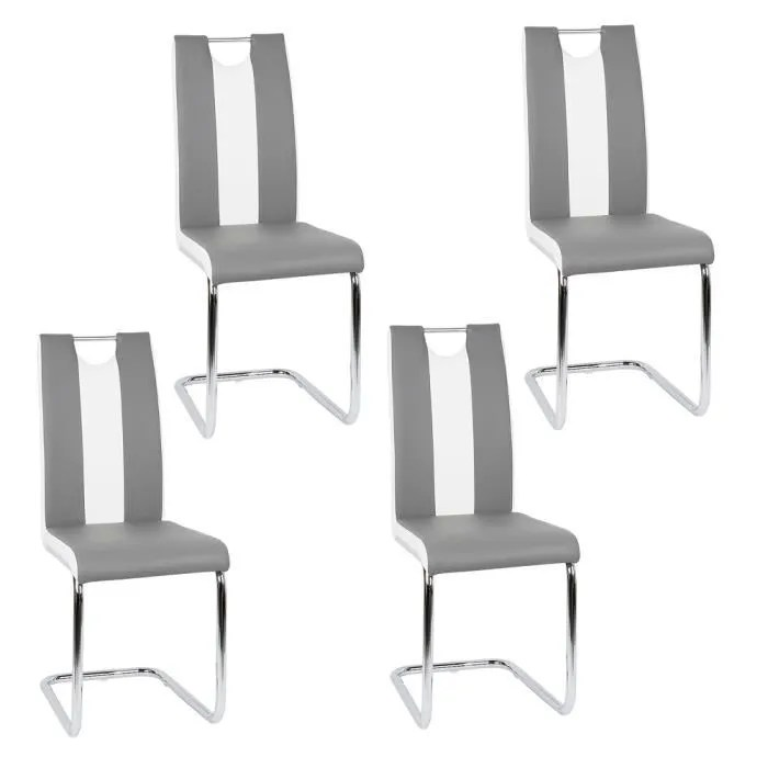 jeobest lot de 4 chaises design gris et blanc pour salle a manger