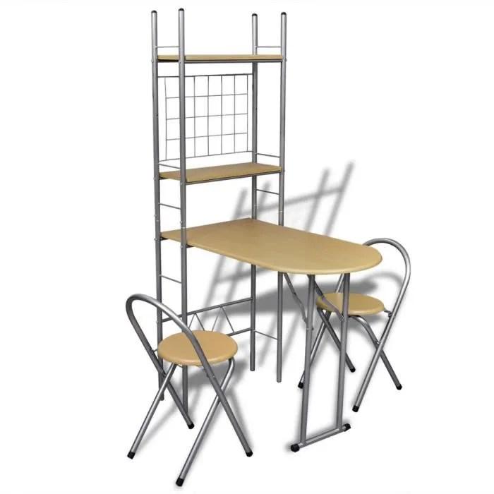 set table cuisine avec 2 chaises pliable petit dej