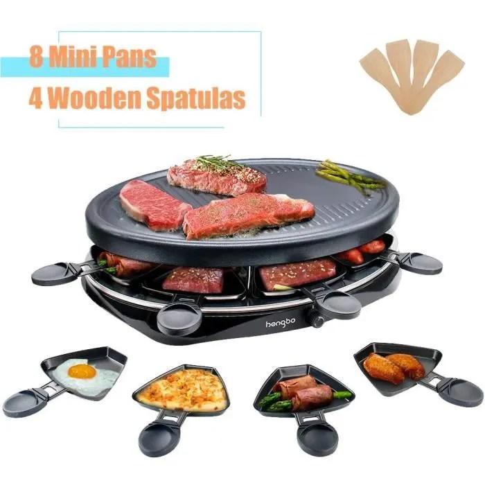 appareil raclette 8 personnes plancha electrique grill thermostat reglable avec 4 spatules et 8 poelons machine a raclette plaque de