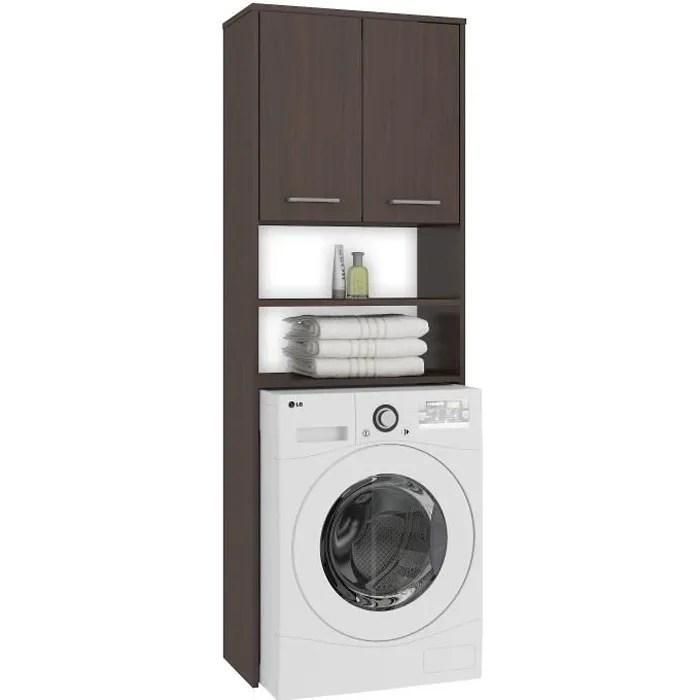 lena meuble pour machine a laver 180x64x30 cm espace de rangement buanderie lave linge salle de bain avec placard wenge