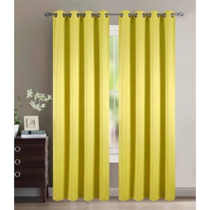 double rideau jaune moutarde a motif