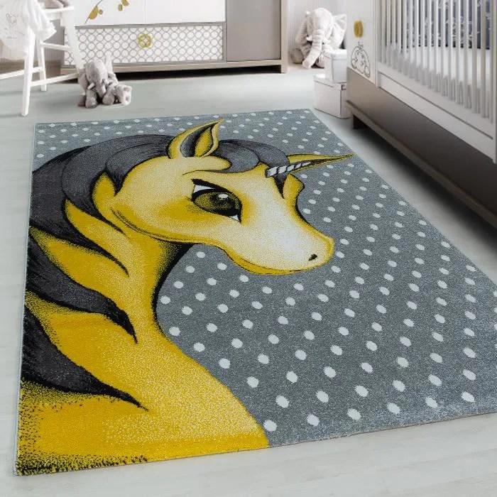 moquette moquette pour enfants chambre d enfant poil court rond licorne optique unicorne jaune gris new kids1201700590yellow 120 cm