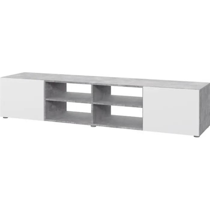 meuble tv blanc et beton gris clair l 180 x p