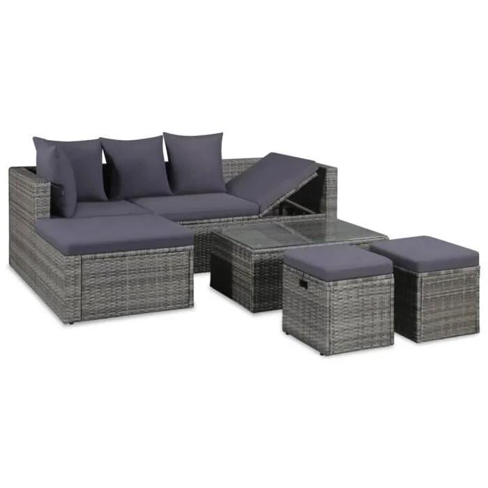 mobilier de jardin 14 pcs salon de jardin resine tressee gris