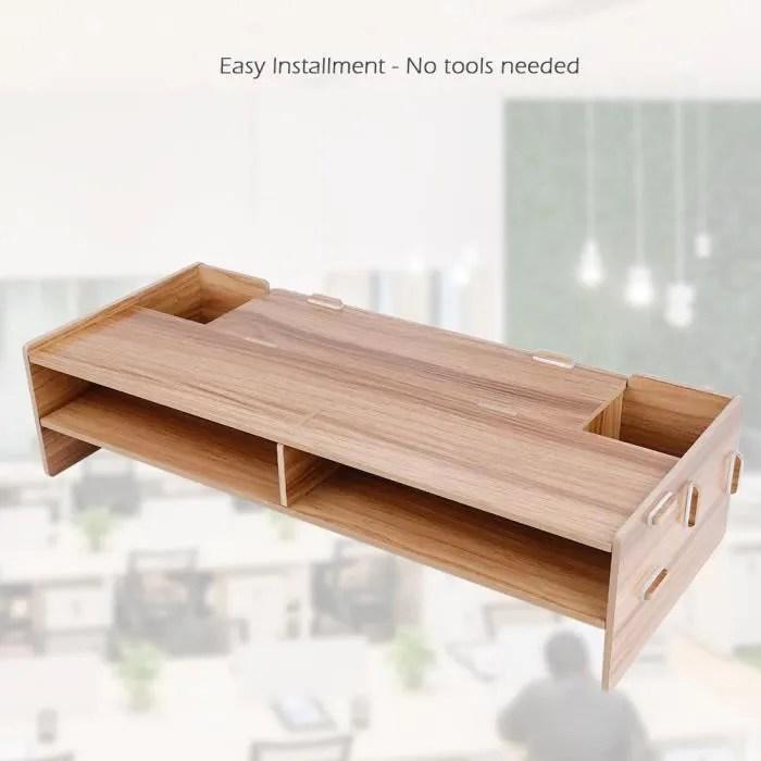 etagere de rangement support tv tablette rehausseur d ecran support pour moniteur bureau d ordinateur bois de cerisier