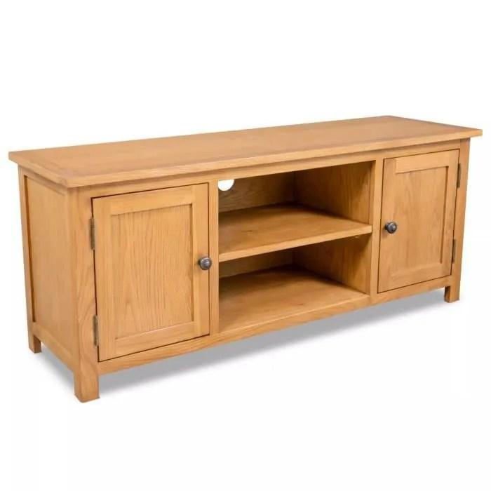 meuble tv 120x35x48 cm bois de chene massif marron