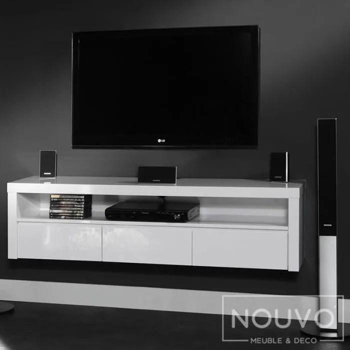 أبيض التف حوله مارينر meuble tv blanc suspendu