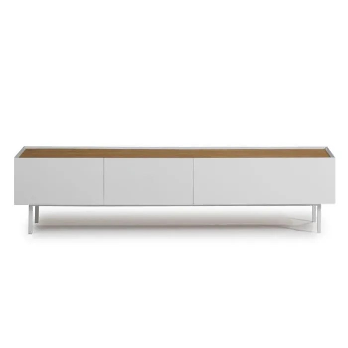 meuble tv 2 tiroirs 1 abattant blanc chene melys