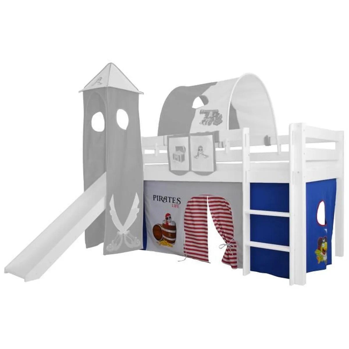 rideaux pour lit superpose sureleve cabane de tente en coton design bleu blanc pirate