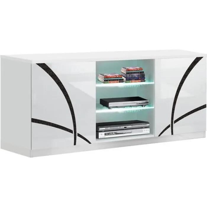 meuble tv 2 portes blanc blanc a leds cross bl