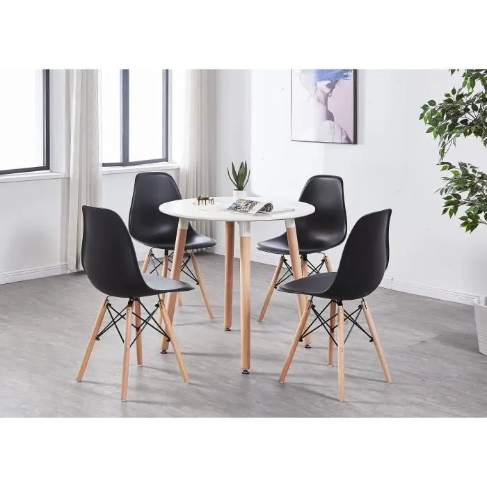 table a manger ronde blanche 4 chaises scandinaves noires salle a manger cuisine