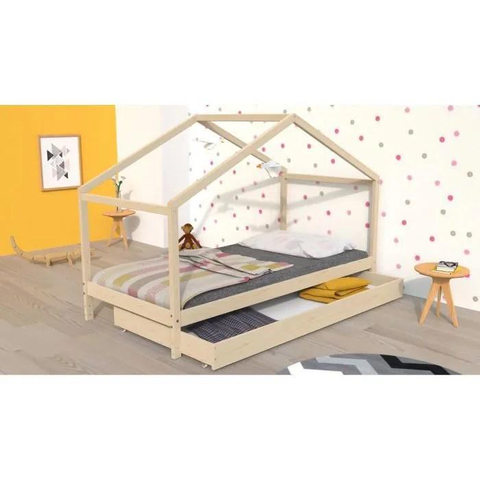 koala lit cabane enfant avec tiroir bois pin massif naturel sommier inlcus 90x190cm