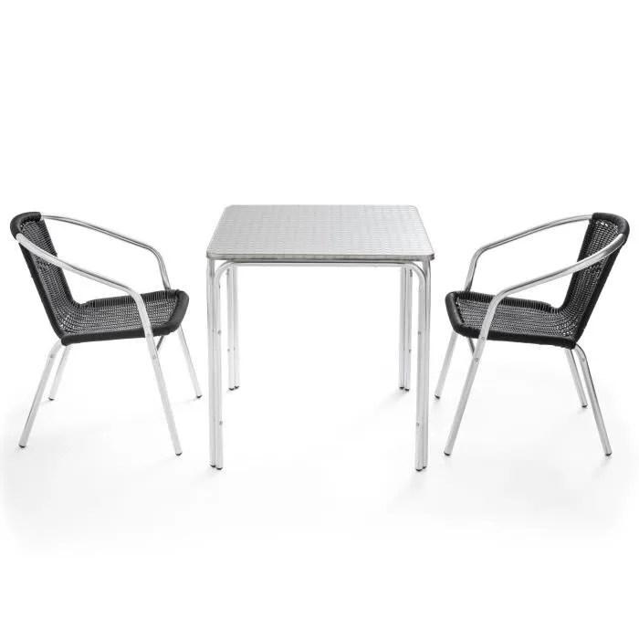 table et chaises de jardin table carree jardin terrasse 70 x 70 cm et 2 fauteuils en aluminium design