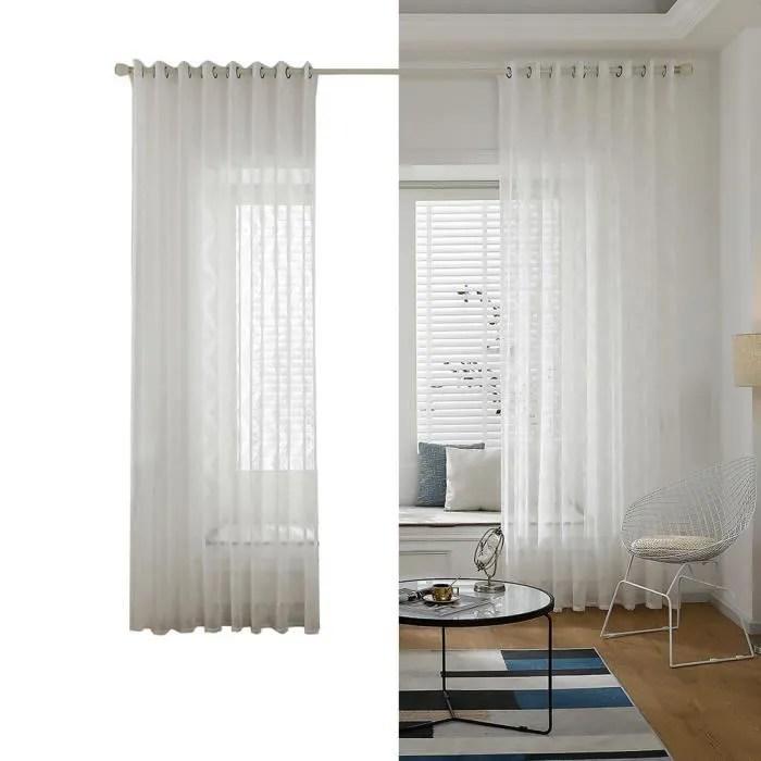 rideau de fenetre en voile blanc transparent avec