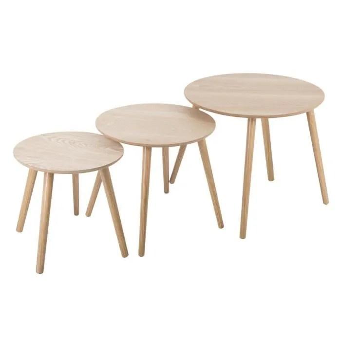atmosphera lot de 3 tables a cafe rondes en bois mileo bois clair