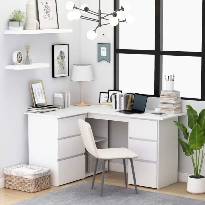 bureau d angle blanc avec 6 tiroirs et 2 etageres 145x100x76 cm agglomere