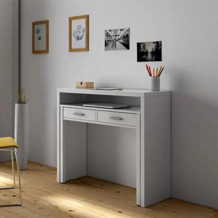 console bureau extensible blanc nial blanc bois console