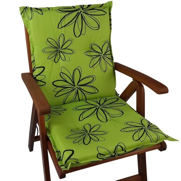 coussin a dossier bas pour chaises de jardin naxos 98x49x6 cm fleurs vertes noyau en mousse avec fixations eu okotex100