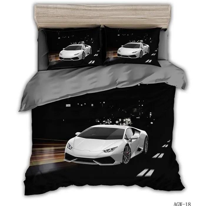 voiture parure de couette 1 housse de couette imprimee 220x240cm 2 taies d oreillers 48x74cm 1 parure de drap 240x260cm noir