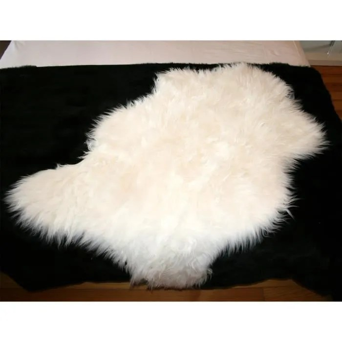tapis en peau de mouton synthetique blanc 110