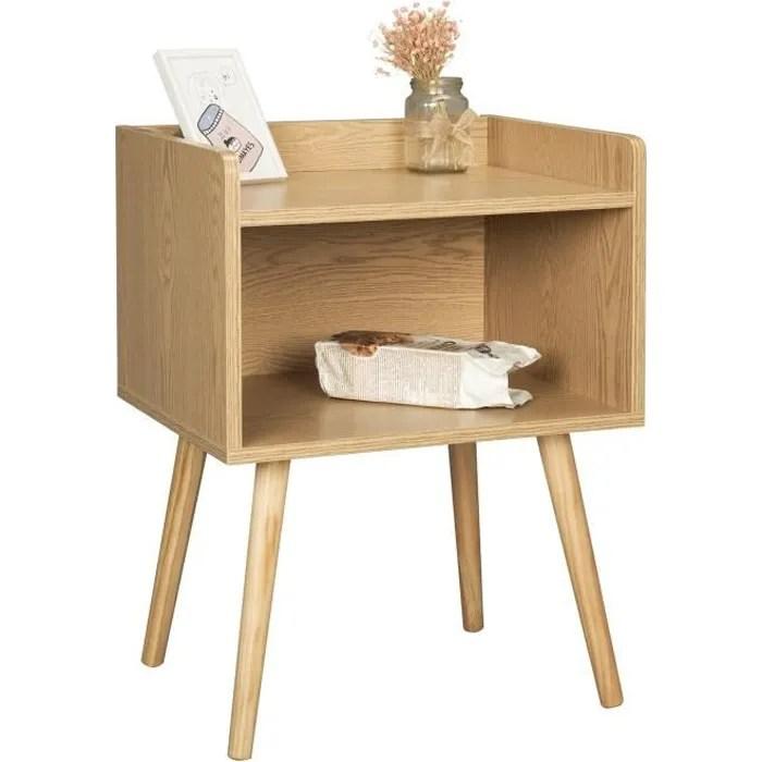 woltu table de chevet en bois table d appoint table de nuit avec compartiment de rangement ouvert chene clair 46x38x60 cm